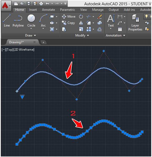 Drawing Lines In Autocad Using Coordinates : Autocad tutorial convert spline to polyline
