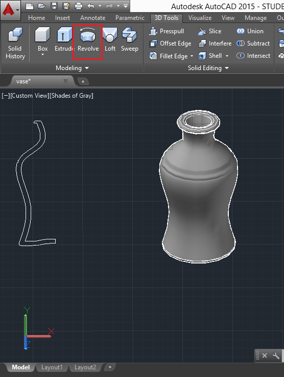 Model a vase in AutoCAD - Tutorial45