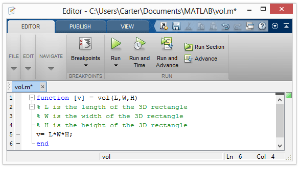 Writing help for matlab function